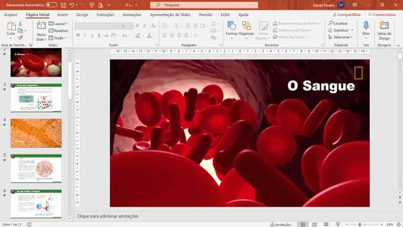 Slides de ciências - O sangue